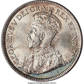 George V 25 Cents 1918 MS66 PCGS,...