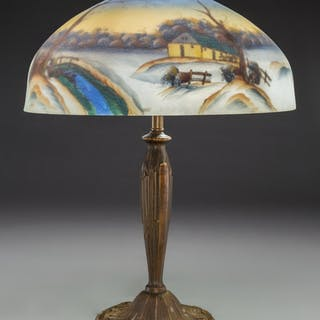 Handel Metal and Reverse Painted Glass Snow Landscape Table Lamp Early