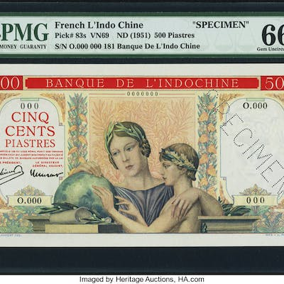 French Indochina Banque de l'Indo-Chine 500 Piastres ND (1951) Pick