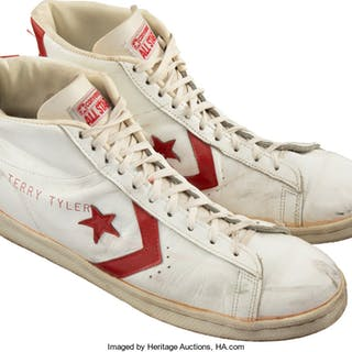 45b2529a1749 Circa 1983 Terry Tyler Game Worn Detroit Pistons Sneakers with Stenciled  Name.