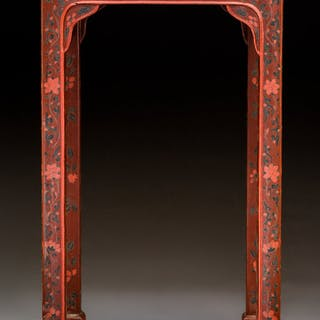 A Chinese Lacquered Wood Side Table, 20th century 24-1/4 x 12-1/4
