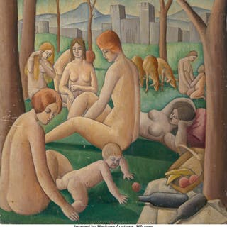 Nathalie Newking (American, 1904-1954) Nudes in Landscape, 1923 Oil