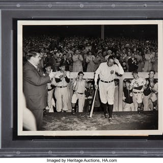 1948's Babe Ruth's Final Yankee Stadium Appearance Original News Photograph