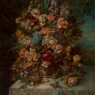 Hans Zatzka (Austrian, 1859-1945) Floral still life on a draped table