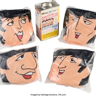 The Beatles Complete Set of Inflatable Dolls with Nestles Quik Container