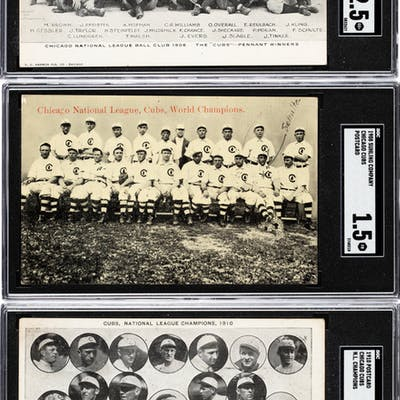 1906 - 1910 Chicago Cubs Post Cards SGC-Graded Trio (3).
