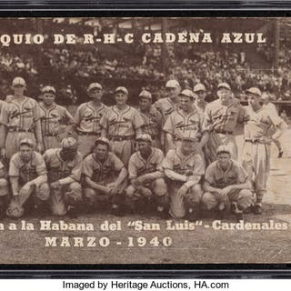 Rare 1940 Radio Havana Cuba St. Louis Cardinals Postcard SGC 20 Fair