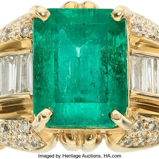Colombian Emerald, Diamond, Gold Ring ...
