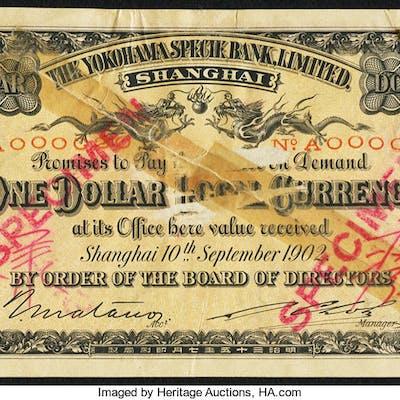 China Yokohama Specie Bank Limited, Shanghai 1 Dollar 10.9.1902 Pick
