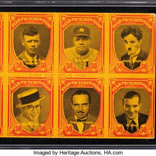 """1929 Exhibits """"Star Picture Stamps"""" Babe Ruth/Dempsey/Chaplin SGC Good+ 2.5."""