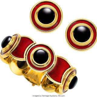 Black Onyx, Enamel, Gold Jewelry Suite, de Vroomen, English ... (Total: