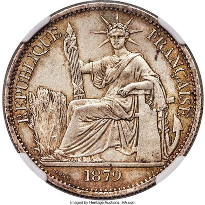 French Colony 50 Cents 1879-A MS62 NGC,...