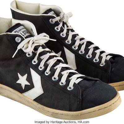 1985 Larry Bird NBA Finals Game Worn & Signed Sneakers.