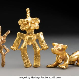Three Central American Gold Pendants... (Total: 3 Items)