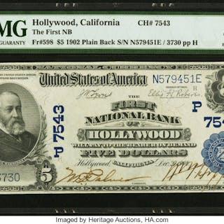 Hollywood, CA - $5 1902 Plain Back Fr. 598 The First NB Ch. # (P)7543