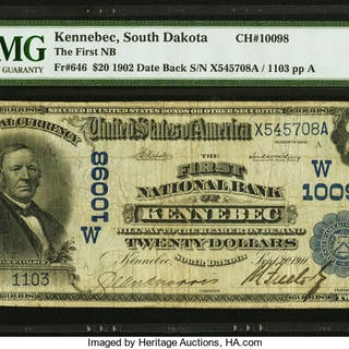 Kennebec, SD - $20 1902 Date Back Fr. 646 The First NB Ch. # (W)10098