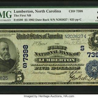Lumberton, NC - $5 1902 Date Back Fr. 590 The First NB Ch. # (S)7398