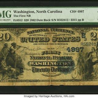 Washington, NC - $20 1882 Date Back Fr. 552 The First NB Ch. # (S)4997