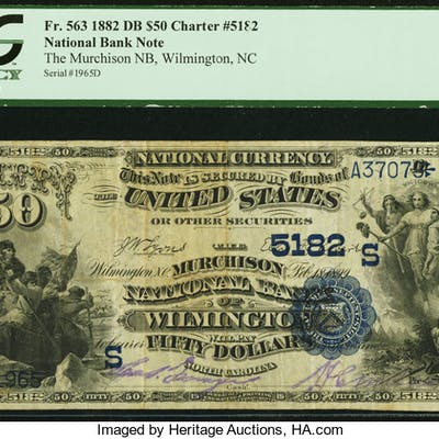 Wilmington, NC - $50 1882 Date Back Fr. 563 The Murchison NB Ch. #