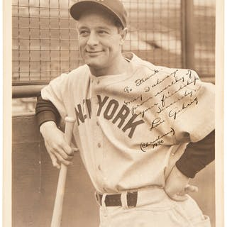 Late 1930's Lou Gehrig Original Photograph with Secretarial Signature