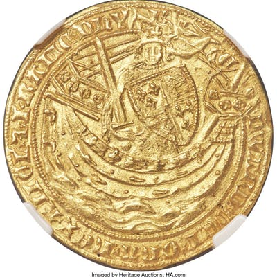 Edward III (1327-1377) gold Noble ND (1356-1361) MS62 NGC,...