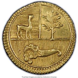 North Peru. Republic gold 1/2 Escudo 1838 L-M MS63 PCGS,...