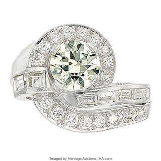 Art Deco Diamond, Platinum Ring  ...