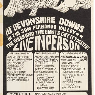 Jimi Hendrix Newport '69 at Devonshire Downs Event Handbill (1969)....