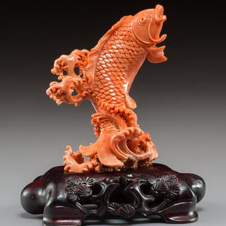 A Chinese Coral Carp with Fitted Hardwood Stand 5-1/4 x 4-5/8 x 3-1/8