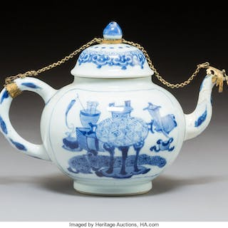 A Chinese Blue and White Porcelain Teapot with Gilt Metal Mounts