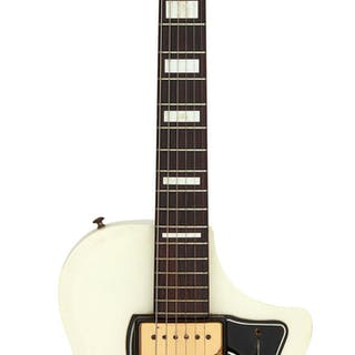 1960 Supro Dual Tone White Solid Body Electric Guitar, Serial # T28445....