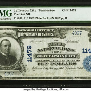 Jefferson City, TN - $10 1902 Plain Back Fr. 632 The First NB Ch.