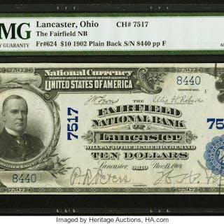 Lancaster, OH - $10 1902 Plain Back Fr. 624 The Fairfield NB Ch. #
