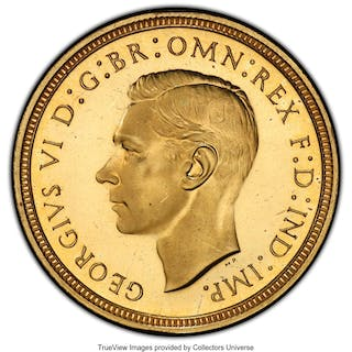George VI gold Proof 1/2 Sovereign 1937 PR64 Cameo PCGS,...