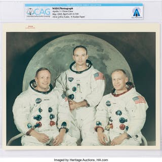 "Apollo 11: Original NASA ""Red Number"" White Spacesuit Crew Color Photograph"