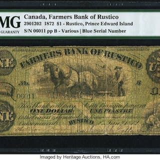 Canada Rustico, PEI- Farmers Bank of Rustico $1 2.1.1872 Ch.# 290-12-02