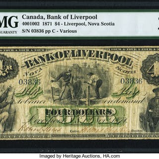 Canada Liverpool, NS- Bank of Liverpool $4 1.11.1871 Ch.# 400-10-02