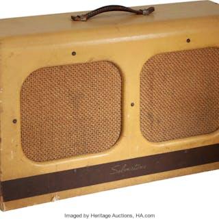 Circa 1952 Silvertone Model 1346 Twin 12 Tan Guitar Amplifier, Serial