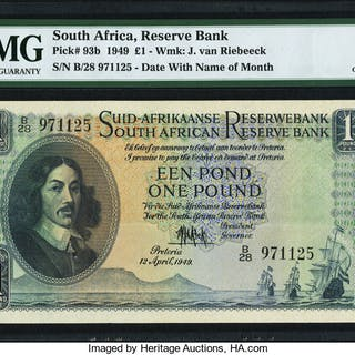 South Africa South African Reserve Bank 1 Pound 12.4.1949 Pick 93b