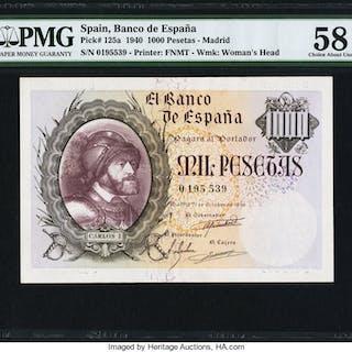 Spain Banco de Espana 1000 Pesetas 21.10.1940 Pick 125a PMG Choice