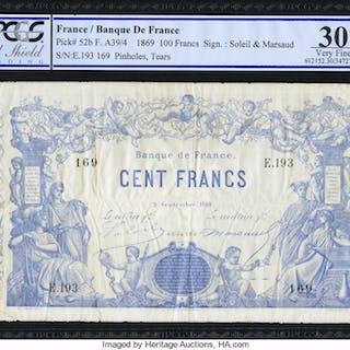 France Banque de France 100 Francs 9.9.1869 Pick 52b PCGS Gold Shield