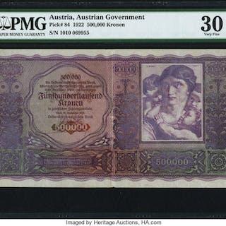 Austria Austrian Government 500,000 Kronen 20.9.1922 Pick 84 PMG Very