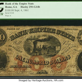 Rome, GA- Bank of the Empire State $100 Sep. 4, 1861 G14b PCGS Very