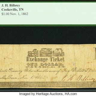 Cookeville, TN- J.H. Bilbrey $1 Nov. 1, 1862 PCGS Fine 15. ...