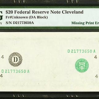 Fr. ?-D $20 ? Federal Reserve Note. PMG Gem Uncirculated 65 EPQ. ...