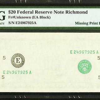 Fr. ?-E $20 ? Federal Reserve Note. PMG Gem Uncirculated 65 EPQ. ...