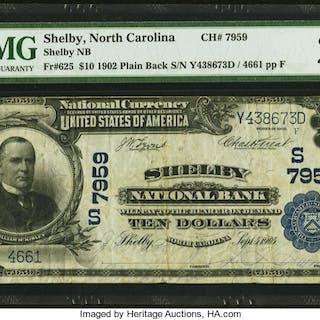 Shelby, NC - $10 1902 Plain Back Fr. 625 Shelby NB Ch. # (S)7959 PMG