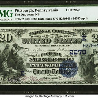 Pittsburgh, PA - $20 1882 Date Back Fr. 552 The Duquesne NB Ch. #