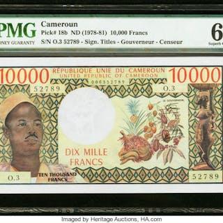 Cameroon Banque des Etats de l'Afrique Centrale 10,000 Francs ND (1978-81)