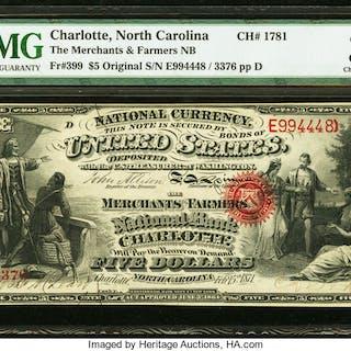 Charlotte, NC - $5 Original Fr. 399 The Merchants & Farmers NB Ch.